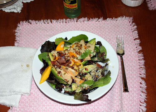 Avocado-Mango Salad with Bacon and Toasted Pumpkin Seeds