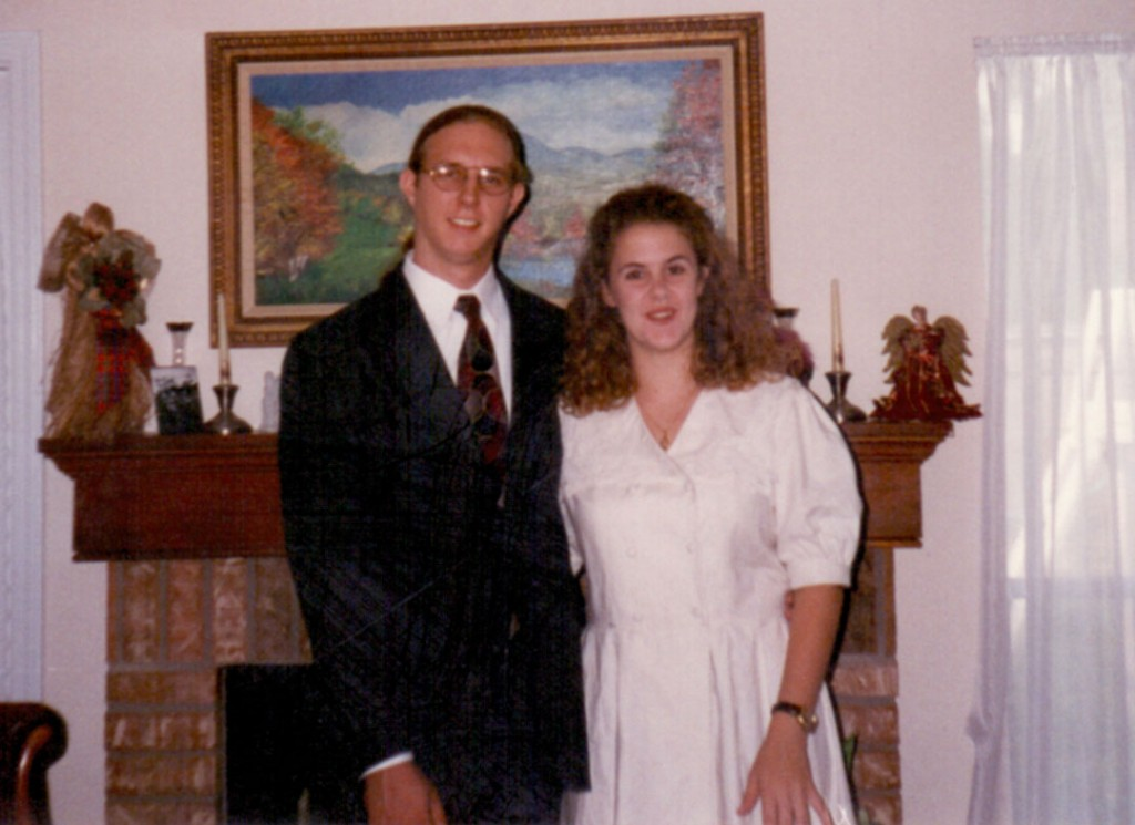 Andy and Cindy dress up for dinner in 1996