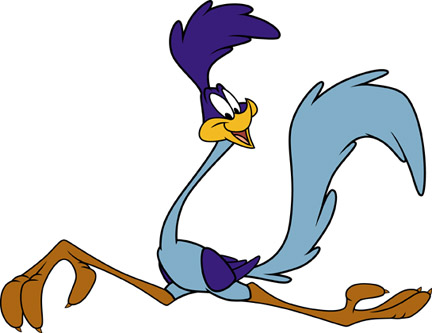 Looney Tunes Roadrunner runs on white background