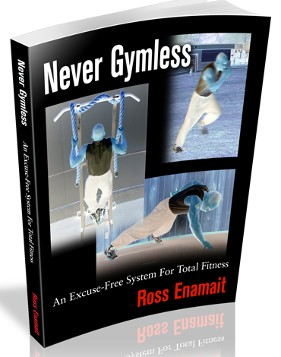 Cover of the book Never Gymless showing author doing three different exercises.