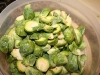 Cut Brussels sprouts
