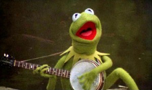 Kermit the Fros plays his banjog and sings The Rainbow Connection